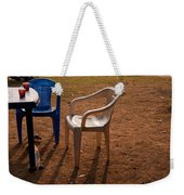 Coffee Cups Along With Chairs And Tables In A Quiet Location At Sunset Weekender Tote Bag
