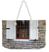 Colonial Shutters Window Frame Stone Wall Wood Box Weekender Tote Bag