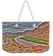 Colorado River Flows Through A Stormy Moab Portal Weekender Tote Bag