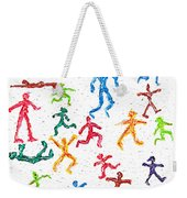 Colorful Acrylic Stickmen Characters Weekender Tote Bag