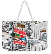 Colorful Neon Sign On Bourbon Street Corner French Quarter New Orleans Colored Pencil Digital Art Weekender Tote Bag