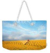 Combine Harvesting A Wheat Field Weekender Tote Bag