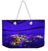 Computer Generated Blue Abstract Fractal Flame Modern Art Weekender Tote Bag