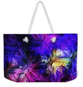 Computer Generated Blue Pink Abstract Fractal Flame Weekender Tote Bag