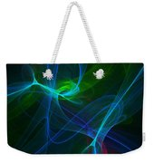 Computer Generated Green Blue Abstract Fractal Flame Modern Art Weekender Tote Bag