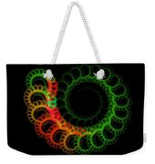 Computer Generated Green Red Abstract Fractal Flame Modern Art Weekender Tote Bag