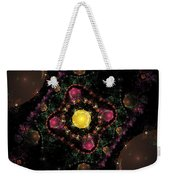 Computer Generated Pink Green Abstract Fractal Flame Black Background Weekender Tote Bag