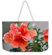 Coral Hibiscus Weekender Tote Bag