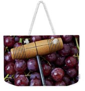 Corkscrew And Wine Cork On Red Grapes Weekender Tote Bag