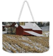 Corn Stubble And Barn In A Wintery Weekender Tote Bag
