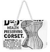 Corset Advertisement, 1887 Weekender Tote Bag