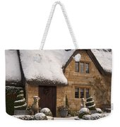 Cotswolds Cottage Covered In Snow Weekender Tote Bag