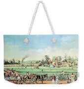 Cotton Plantation On The Mississippi Weekender Tote Bag by Photo Researchers