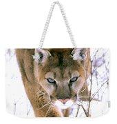 Cougar Stalks Through Snow Weekender Tote Bag