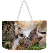 Couger Mom Cleans Kitten Weekender Tote Bag