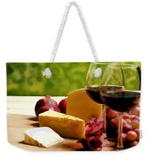 Countryside Wine  Cheese And Fruit Weekender Tote Bag by Elaine Plesser