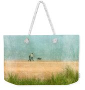 Couple On Beach With Dog Weekender Tote Bag