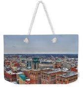 Courthouse And Statler Towers Winter Weekender Tote Bag