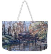 Covered Bridge At Lake Roaming Rock Weekender Tote Bag