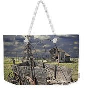 Covered Wagon And Farm In 1880 Town Weekender Tote Bag