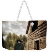 Cowboy Walking By Barn Weekender Tote Bag