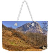 Cowhouse And Snow-capped Mountain Weekender Tote Bag