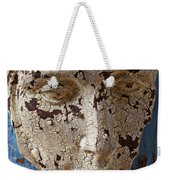 Cracked Face On Blue Wall Weekender Tote Bag