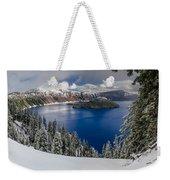 Crater Lake And Fresh Snow Panorama Weekender Tote Bag
