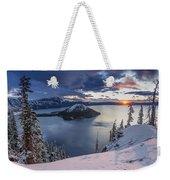 Crater Lake Snow Sunrise Weekender Tote Bag