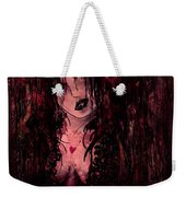Crimson Torn Lace Weekender Tote Bag