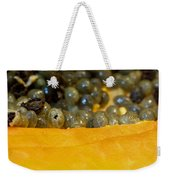 Cross Section Of A Cut Papaya With The Fruit And The Seeds Weekender Tote Bag