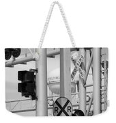Crossing Signs In Black And White  Weekender Tote Bag