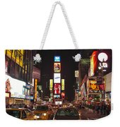 Crossing The Street At Times Square At Night Weekender Tote Bag