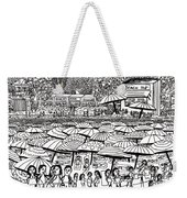 Crowded Beach Black And White Weekender Tote Bag