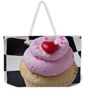 Cupcake With Heart On Checker Plate Weekender Tote Bag by Garry Gay