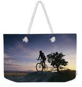 Cyclist At Sunset, Northern Arizona Weekender Tote Bag
