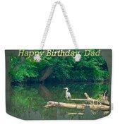 Dad Birthday Greeting Card - Heron On Fallen Tree Weekender Tote Bag