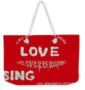 Dance Like Nobody's Watching - Red Weekender Tote Bag by Georgia Fowler