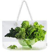 Dark Green Leafy Vegetables In Colander Weekender Tote Bag by Elena Elisseeva