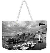 Darling Harbor- Black And White Weekender Tote Bag