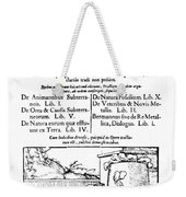 De Re Metallica, Title Page, 16th Weekender Tote Bag by Science Source