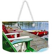 Deck Chairs On Dock At Lake Weekender Tote Bag by Elena Elisseeva