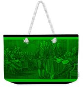 Declaration Of Independence In Green Weekender Tote Bag by Rob Hans
