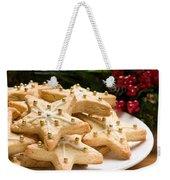 Decorated Christmas Cookies In Festive Setting Weekender Tote Bag