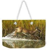 Deer Running Through The Salt Marsh Weekender Tote Bag
