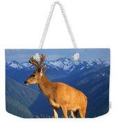 Deer With Antlers, Mountain Range In Weekender Tote Bag