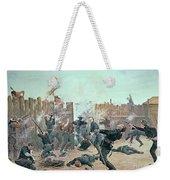 Defending The Fort Weekender Tote Bag by Charles Schreyvogel
