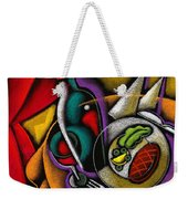 Dinner With Wine Weekender Tote Bag by Leon Zernitsky