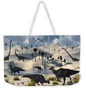 Dinosaurs Gather At A Life Saving Oasis Weekender Tote Bag