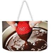 Dipping Strawberry In Chocolate Weekender Tote Bag by Elena Elisseeva